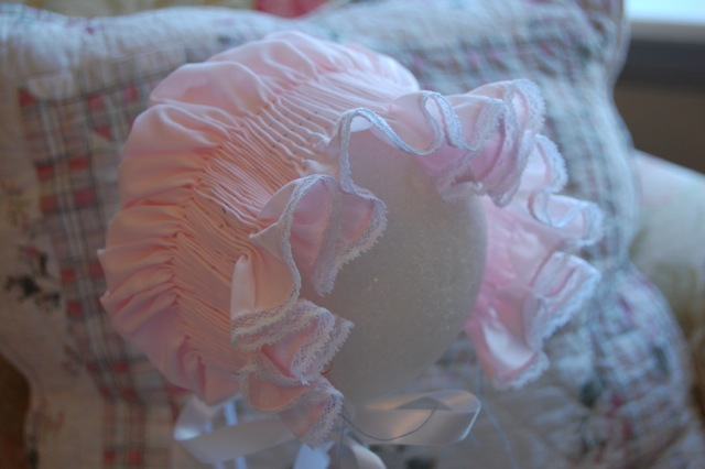 Ready to Smock Bonnet in Pink  Poly/Cotton -Infant
