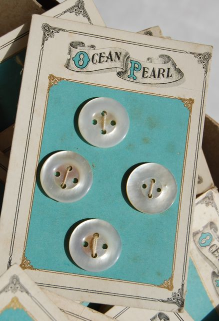 Antique Button Card/ Four Hole Pearl