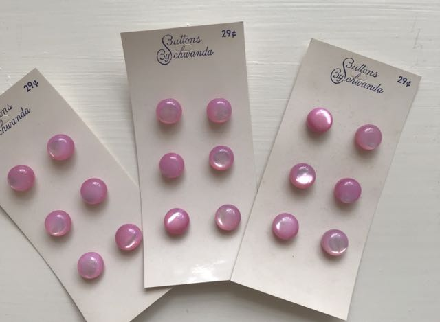 Antique Button Cards - 3 cards of Pink  Ball Buttons 3/8""