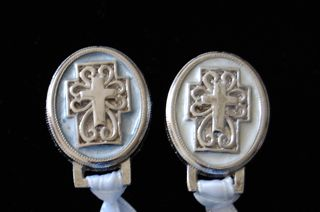 Paci Holder - Enameled Cross in White or Blue Ribbon