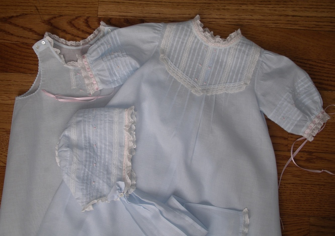 Baby Layette Blue Tucked Daygown