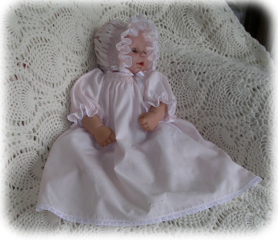 Baby's Smocked Layette - Baby Claire's Dress in Satin Batiste